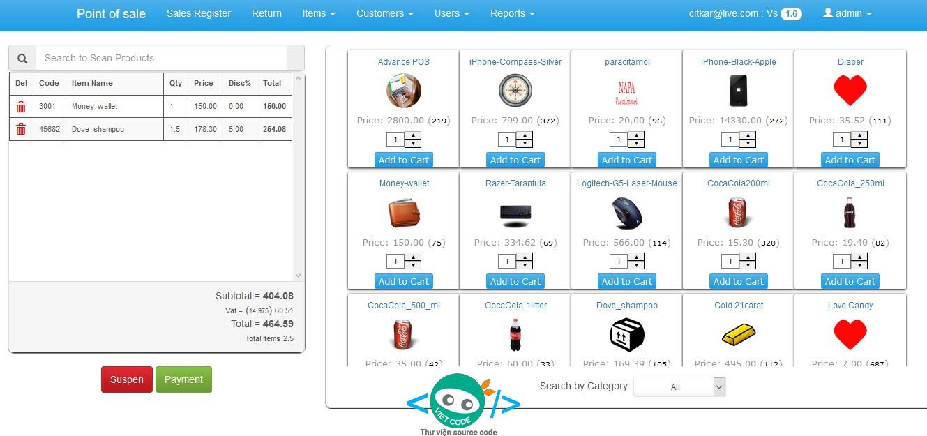 Source code Phần mềm quản lý bán hàng bằng ASP Full chức năng