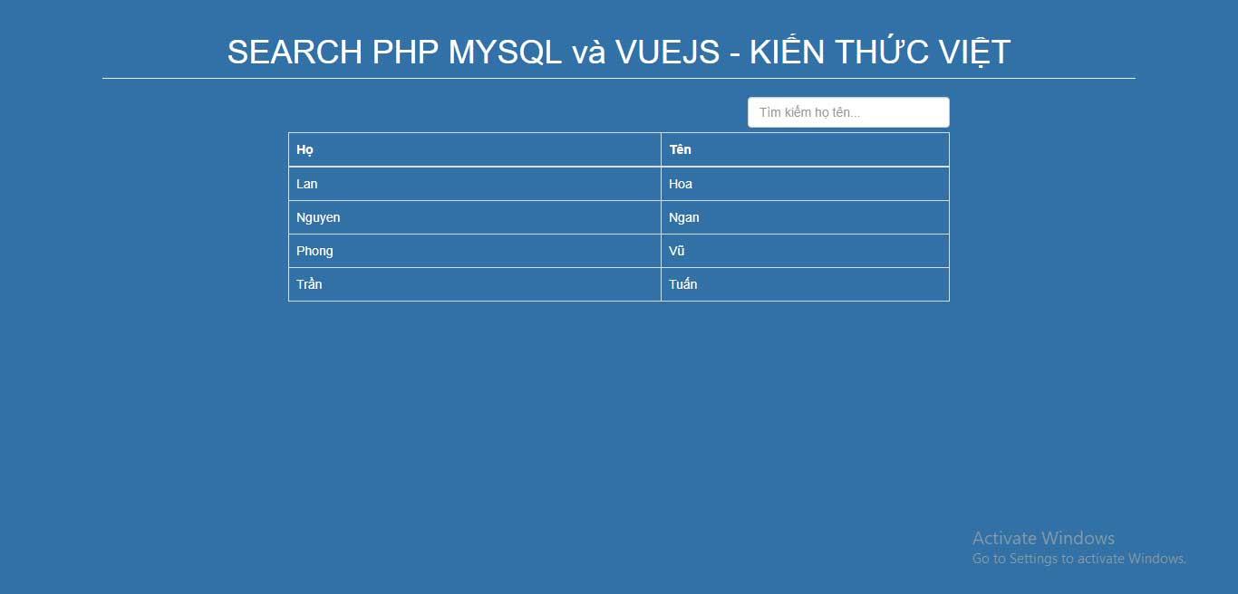 Hướng dẫn tạo trang tìm kiếm đơn giản bằng VueJS kết hợp PHP MYSQL