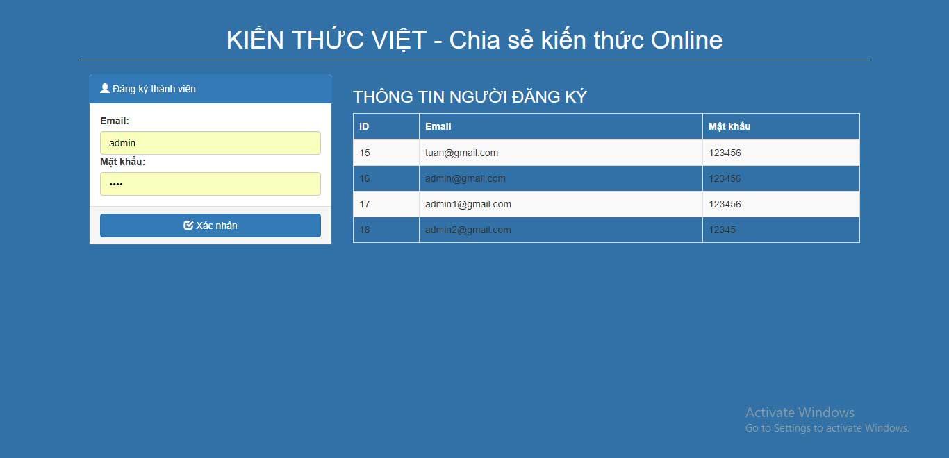 Tạo chức năng đăng ký đơn giản với VueJS