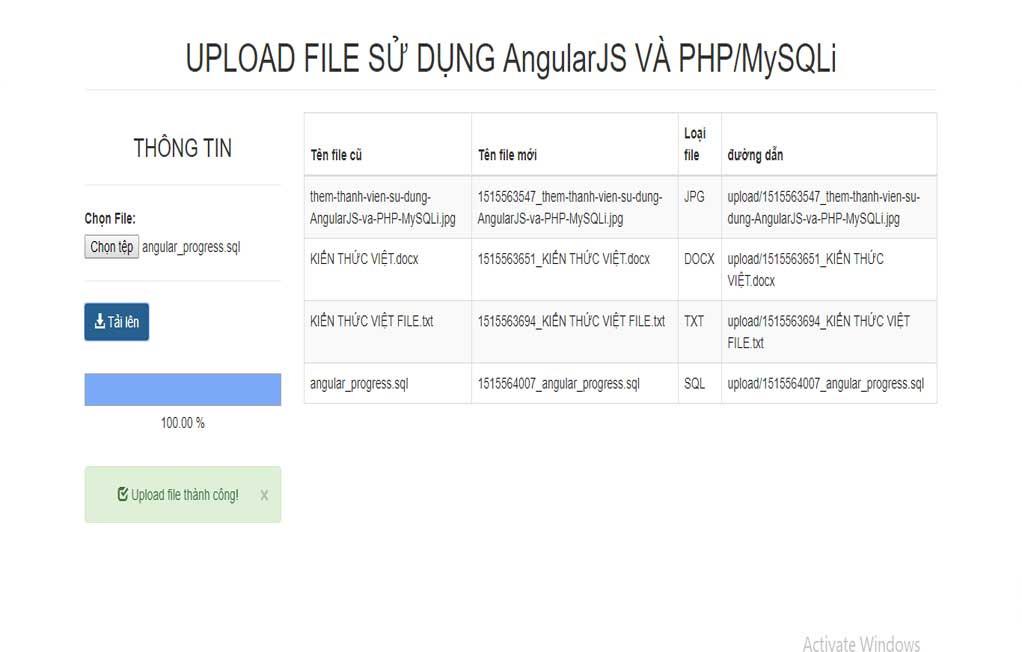 Source code tải file lên Server kết hợp framework AngularJS VÀ PHP/MySQLi