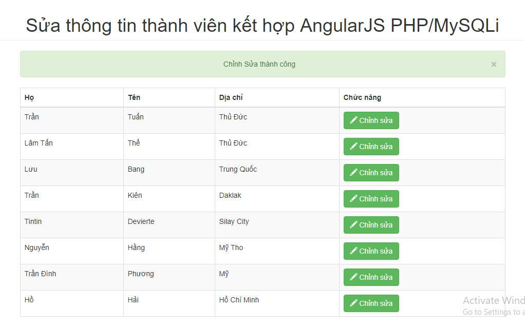 Hướng dẫn chức năng sửa thành viên thông tin thành viên kết hợp AngularJS PHP/MySQLi