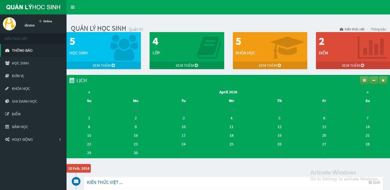 Source Code Website Quản lý học sinh sinh viên bằng PHP MYSQL