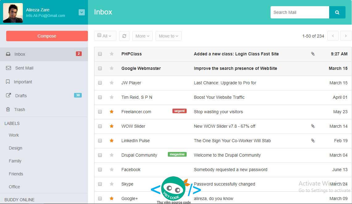 Code giao diện hộp thư đến và soạn thư phản hồi bằng Bootstrap