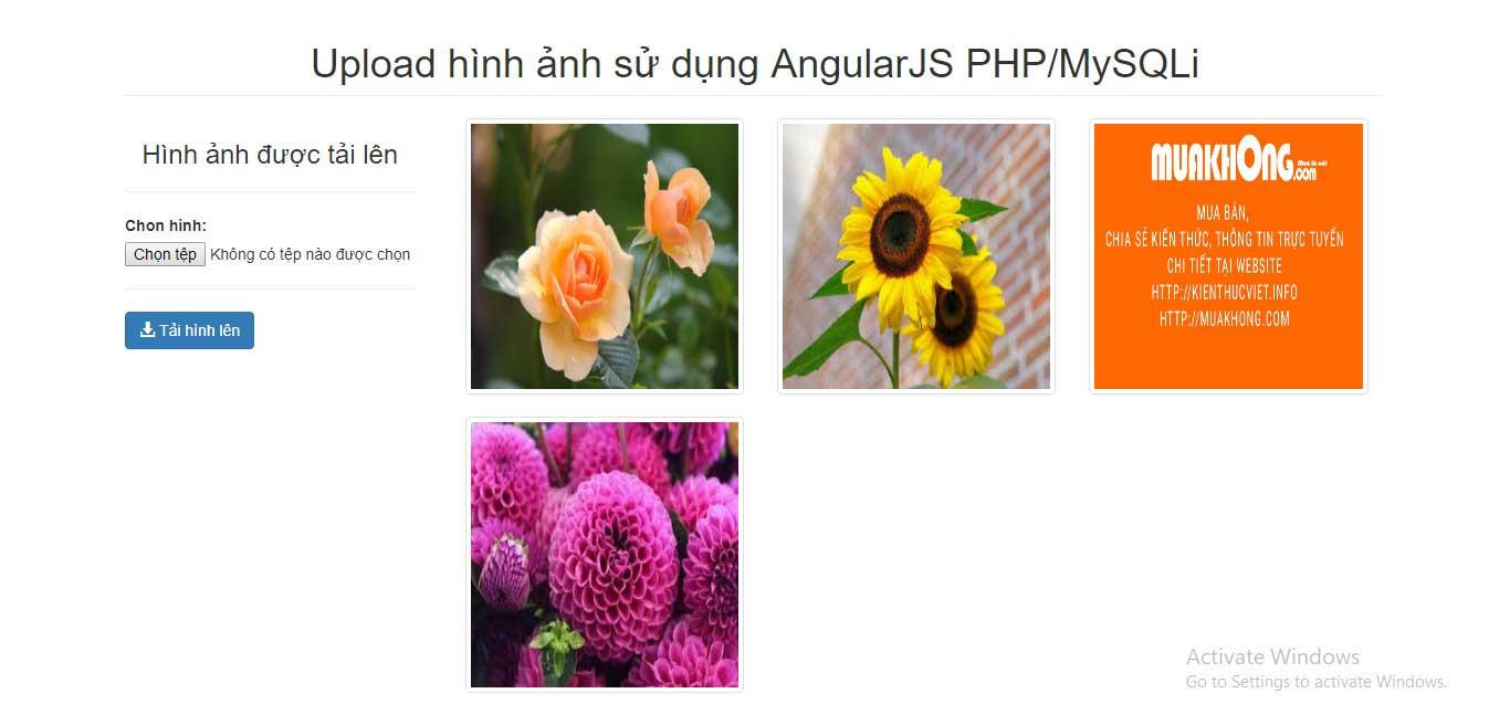 Upload file sử dụng AngularJS PHP kết hợp với MySQLI