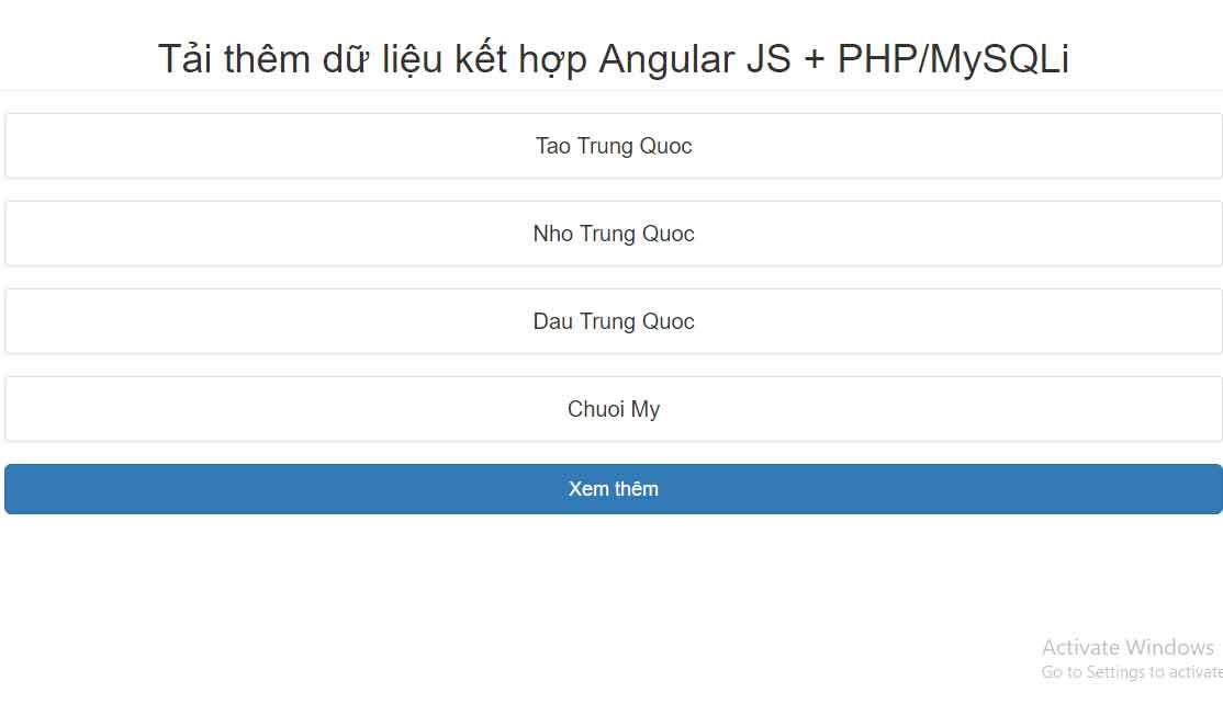 Chia sẻ Source Code Load dữ liệu kết hợp Angular JS + PHP/MySQLi