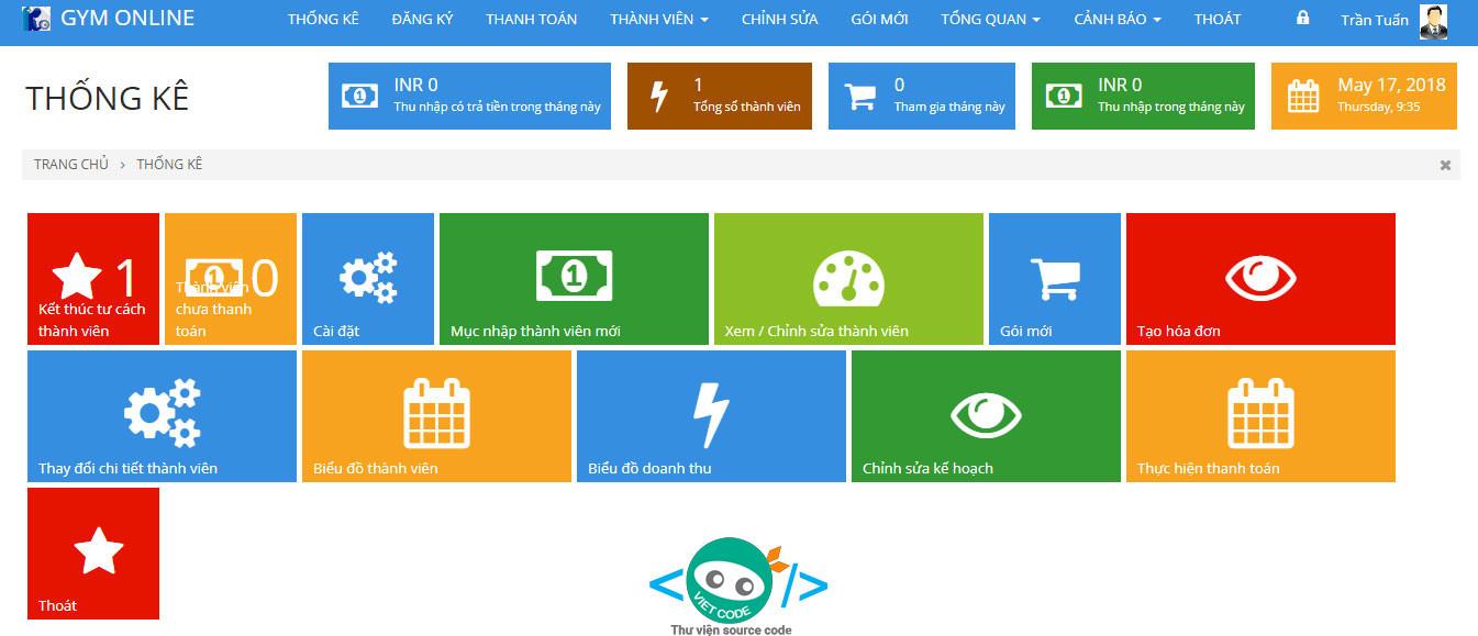 Hệ thống Quản Lý Phòng Tập GYM Online bằng PHP