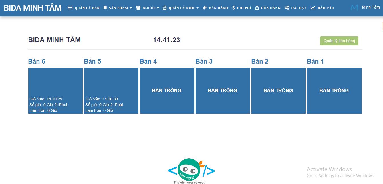 Phần mềm Quản lý Quán Bida Online bằng PHP