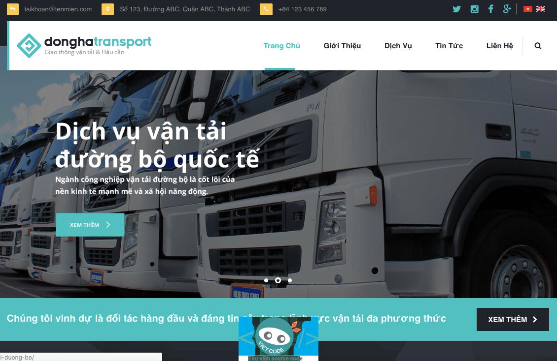 Source Code Themes Wordpress giới thiệu dịch vụ vận tải và dịch vụ giao nhận hàng hoá
